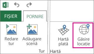 Butonul Găsire locație de pe fila Pornire Power Map