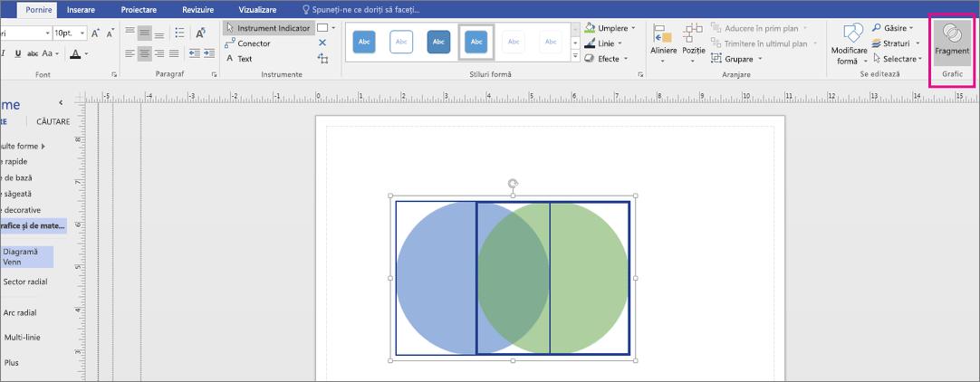 Faceți clic pe Fragment din zona de grafic.