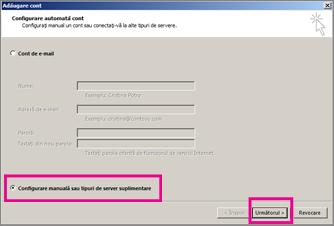 Utilizați configurarea manuală din Outlook 2013