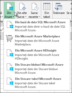 Power Query Import din Azure dialog
