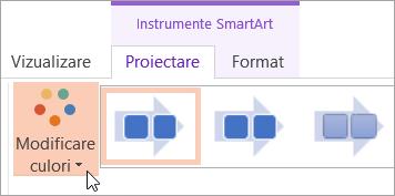 Afișează butonul modificare culori, pe fila proiectare
