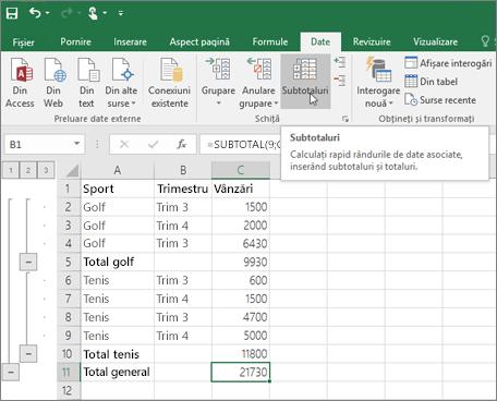 Faceți clic pe subtotal în fila date pentru a adăuga un rând subtotal în datele Excel