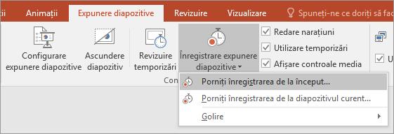 Afișează butonul Înregistrare expunere diapozitive din PowerPoint