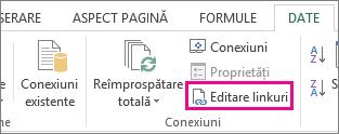 Editare linkuri din fila Date