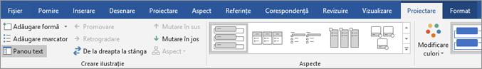 Faceți clic pe proiectare și apoi faceți clic pe panoul Text