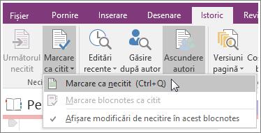 Captură de ecran cu butonul Marcați citit din OneNote 2016.