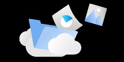 Un folder înconjurat de nori și documente, cum ar fi diagrame și imagini