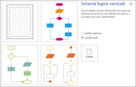 Captură de ecran  cu ecranul Schemă logică verticală, afișând opțiuni pentru șabloane și unități de măsură.