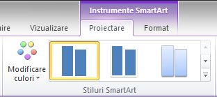 Grupul Stiluri SmartArt din fila Proiectare de sub Instrumente SmartArt
