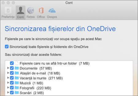 Caseta de dialog Foldere de sincronizare pentru OneDrive pentru Mac
