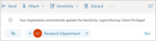 Captură de ecran a unui sfat despre o etichetă de sensibilitate aplicată automat