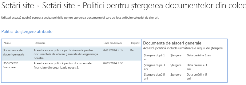 Politicile de ștergere document atribuit la o colecție de site-ul