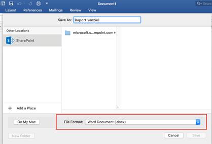 Utilizați instrumentul Format fișier din Salvare ca din Word pentru a selecta alte formate, cum ar fi PDF, în care să salvați