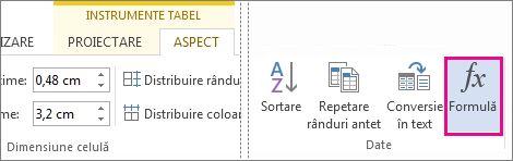 Buton de formulă pentru instrumentele de tabel