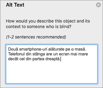 Text alternativ în Outlook pentru Mac.