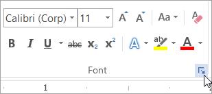 Faceți clic pe lansatorul casetei de dialog Font