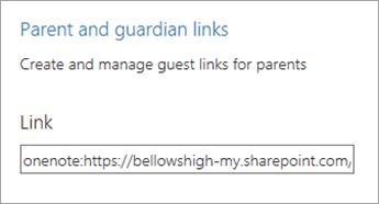 Părinte și guardian linkuri hyperlink în gestionarea blocnotesuri.