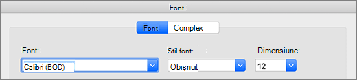Selectare font în caseta de dialog