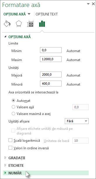 Opțiunea Număr în panoul Formatare axă