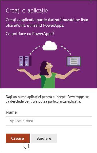 Oferind un nume pentru PowerApp, apoi făcând clic pe Creare.