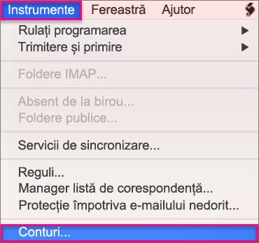Instrumente > Conturi