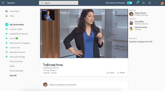 Captură de ecran afișând participarea la un eveniment în direct pe web