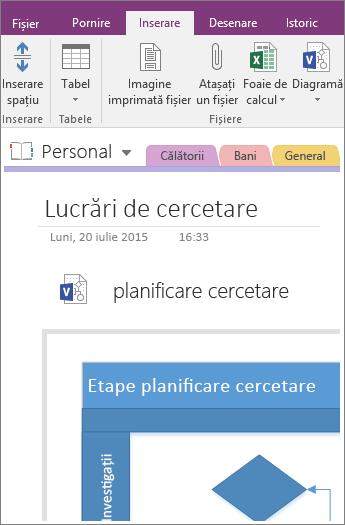 Captură de ecran cu adăugarea unei diagrame Visio existente în OneNote 2016.