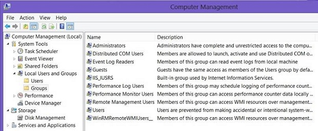 The Remote Desktop Users group is missing