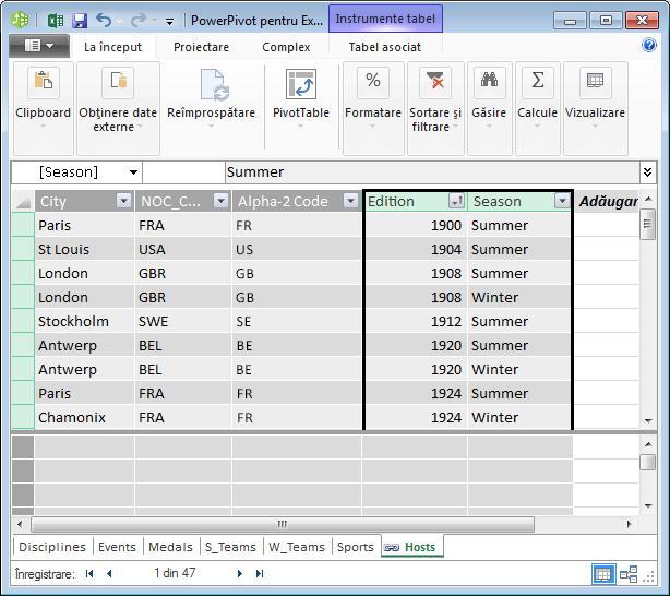 Tabelul Hosts, cu Edition și Season selectate
