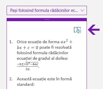 Pictograma Immersive Reader din panoul Matematică în OneNote pentru Windows 10