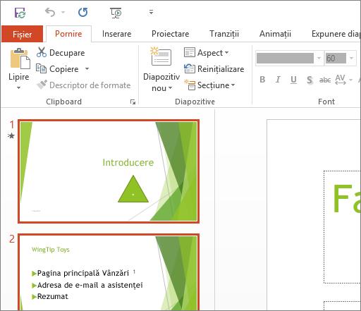Afișează PowerPoint 2016 cu tema Alb aplicată.