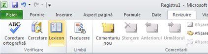 Panglica Excel, fila Revizuire, Lexicon