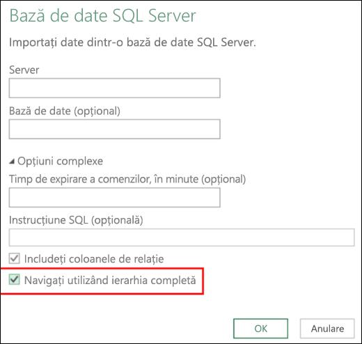 Conectorii de bază de date relațională îmbunătățiți din Excel Power BI