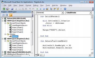 Un modul care conține două macrocomenzi stocate în Modul1 din Registru1