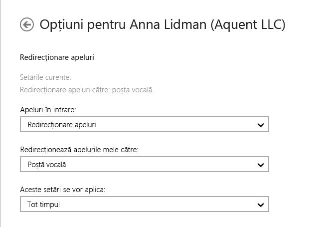 Captură de ecran cu opțiunile de redirecționare pentru apelurile primite, cu opțiunile de a le redirecționa la poșta vocală și de a le aplica întotdeauna