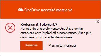 Captură de ecran a notificării de Redenumire din aplicația de sincronizare OneDrive pentru desktop