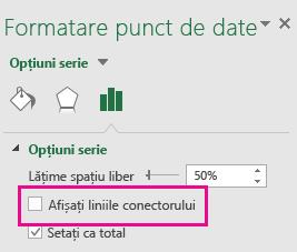 Panoul de activități Formatare punct de date cu opțiunea Afișați liniile conectorului debifată în Office 2016