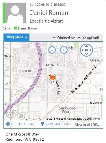 Mesaj de e-mail cu aplicația Hărți Bing afișând adresa pe o hartă