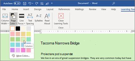 Un document Word cu un fundal verde și selectorul de culori de pagină deschis