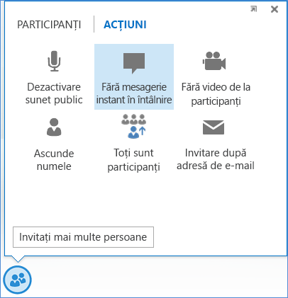 Captură de ecran cu opțiunea Fără mesagerie instant în întâlnire