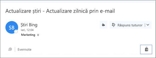 Captură de ecran a unui fragment din partea de sus a unui mesaj de e-mail cu pictograma Magazin evidențiată. Dacă faceți clic pe pictogramă se deschide o fereastră Programe de completare pentru Outlook, în care puteți căuta și instala programe de completare.