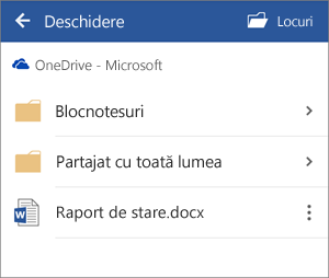 Deschiderea unui document