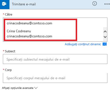 Captură de ecran: Selectați e-mailul din listă