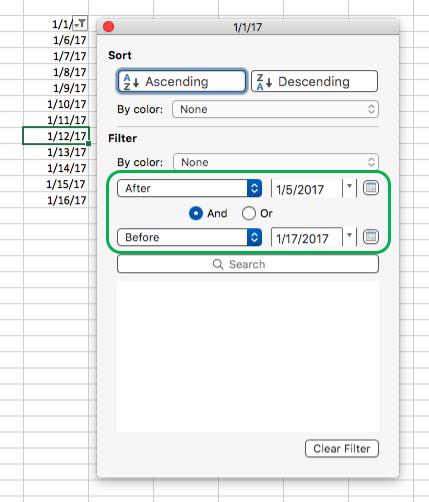 Valori dată pentru filtre Excel pentru Mac