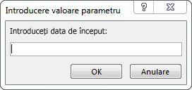"""Solicitare de parametri cu textul """"Introduceți data de început:"""""""