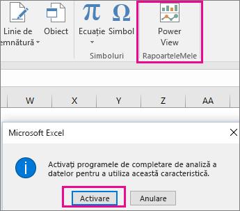 Butonul Pivot View particularizat și caseta de dialog care activează programul de completare în Excel