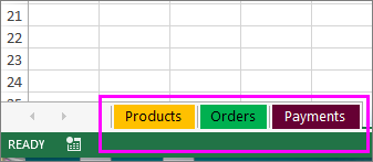 Registru de lucru afișând selectorii de file cu diferite culori