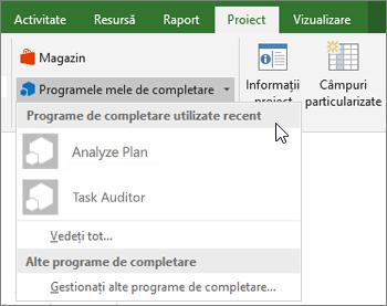 Captură de ecran de pe fila proiect, în zona programe de completare mea cu cursorul lângă lista verticală completare utilizate recent. Numele de mai multe programe de completare sunt afișate și faceți clic pe nume pentru a porni programul de completare.