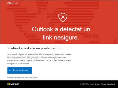 Outlook a detectat un link usafe.