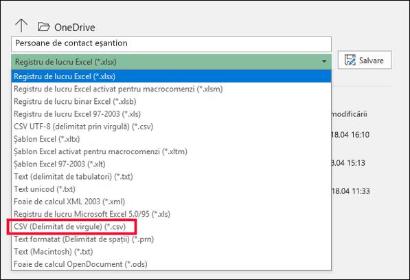 Salvați fișierul Excel ca fișier CSV.